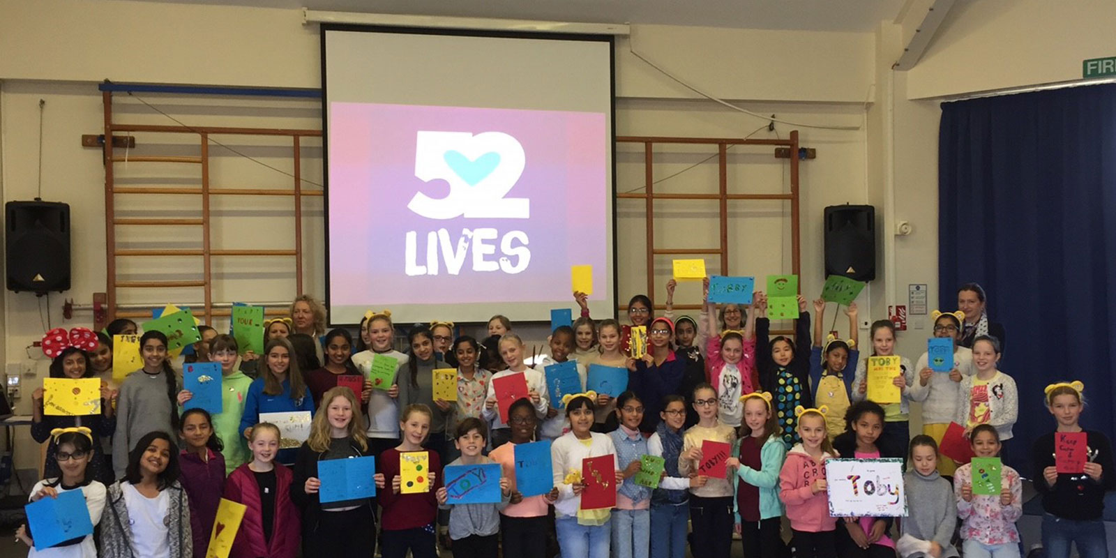 Jaime in schools running the 52 Lives project