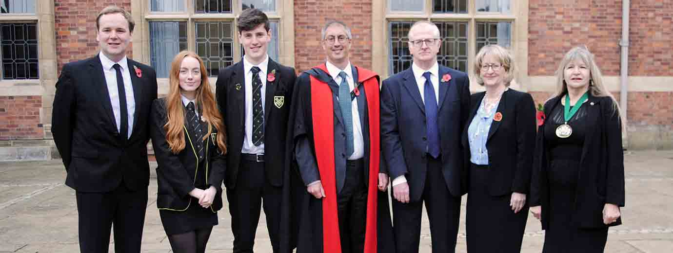 MP William Wragg, Head Girl Megan King, Head Boy Murray Jallands, Headmaster Dr Paul Owen, Chairman of Governors Christopher Dunn, MP Mary Robinson, Cllr Wendy Meikle from Stockport Grammar School