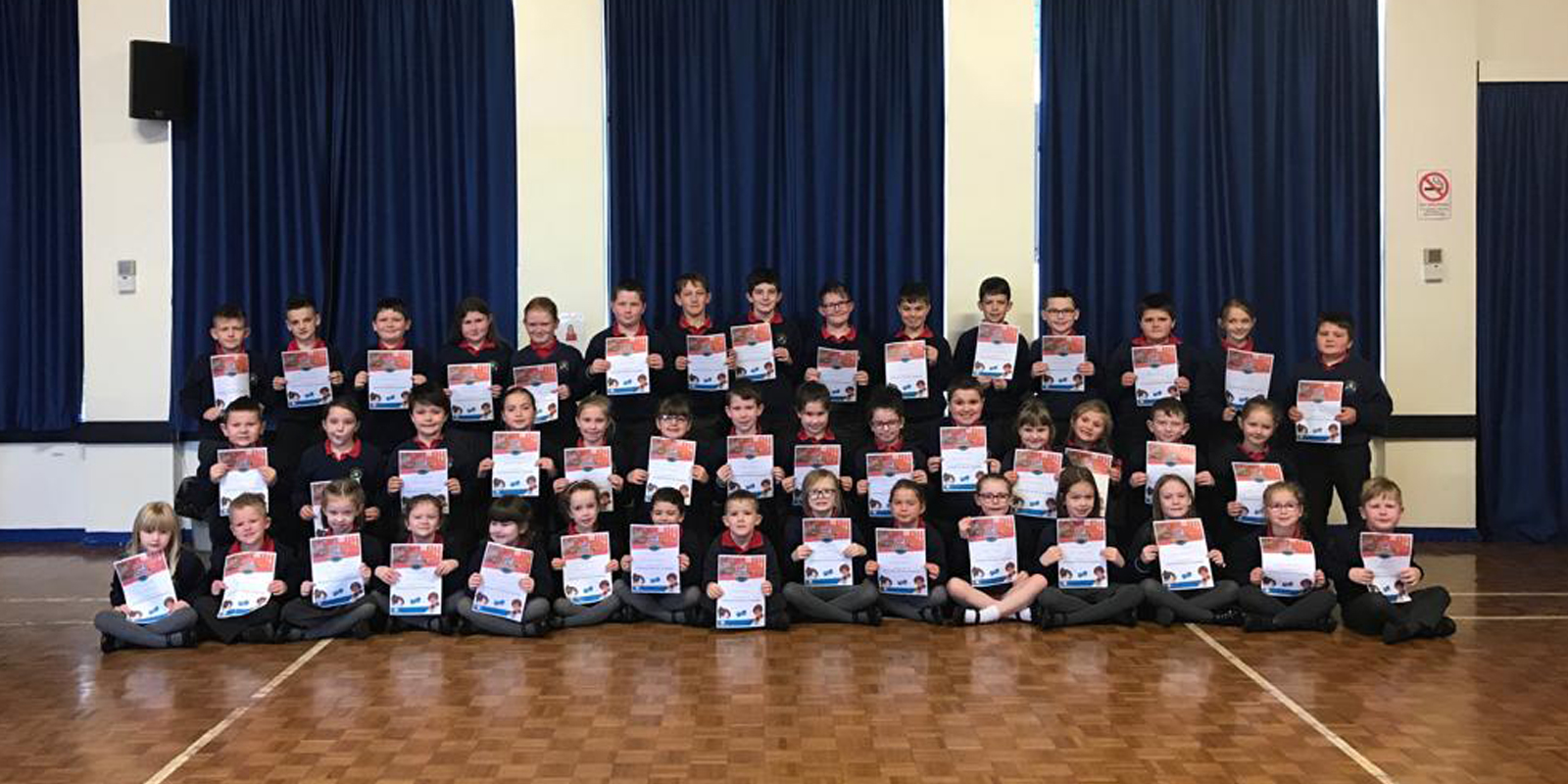 Stewartstown Primary School students with maths competition certificates