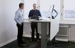 Jamie & John at the University of Manchester with their bespoke Loxit desks