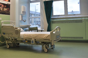 Coloured radiator covers in clinical setting