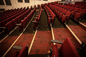 university refurbishment – flooring in Peel Hall lecture theatre