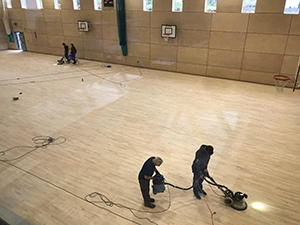 Men working on the Pleckgate Sports Hall Refurbishment
