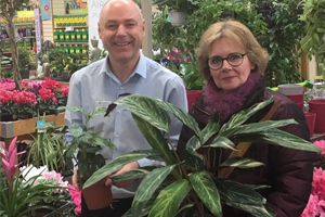 Nick Joad, general manager at Haskins who donated the houseplants with Mrs. Silk, head teacher at Ferring Primary School