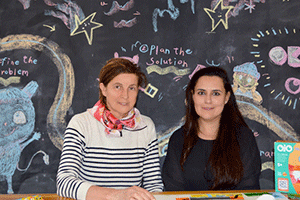 OKIDO joint founder Dr Sophie Dauvois & OjO founder Maha Khawaja with the Which Way? coding board game
