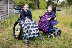 Children in wheelchairs with BundleBean covers