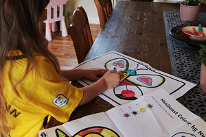 Young girl using Twinkl free learning resources