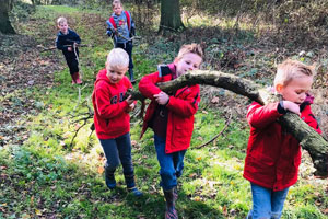 School students in the woods at Children Who Can