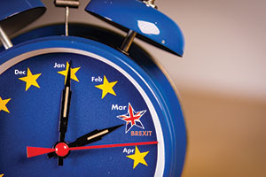 Clock showing count down to Brexit