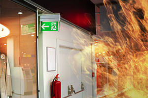 fire extinguishers - a blaze in corridor