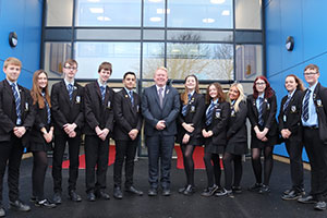 New school building for High Tunstall College of Science - head Mark and pupils outside the school