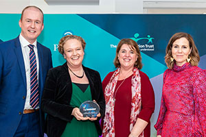 Shine a Light Awards – Longmoor teachers with judge Robert Rilley-Craig from Pearson and host Sally Phillips