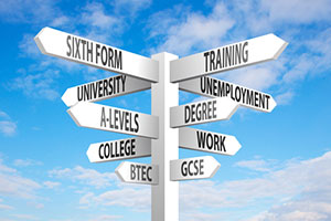 Signs suggesting different further education options