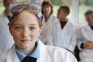 Girl in goggles during British Science Week