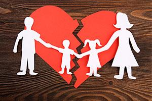 How to manage the impact of divorce on children - paper family and broken heart