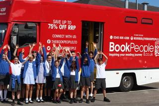 Rosh Pinah Primary School pupils by the Book Bus from leading bookseller, The Book People. The school was crowned the winners in the Achievement for All 100 Million Minutes Reading Challenge