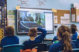 A classroom session with children enjoying the Ocean Conservation Trust virtual visit