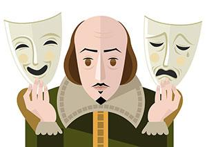 cartoon of Shakespeare for national Shakespeare week